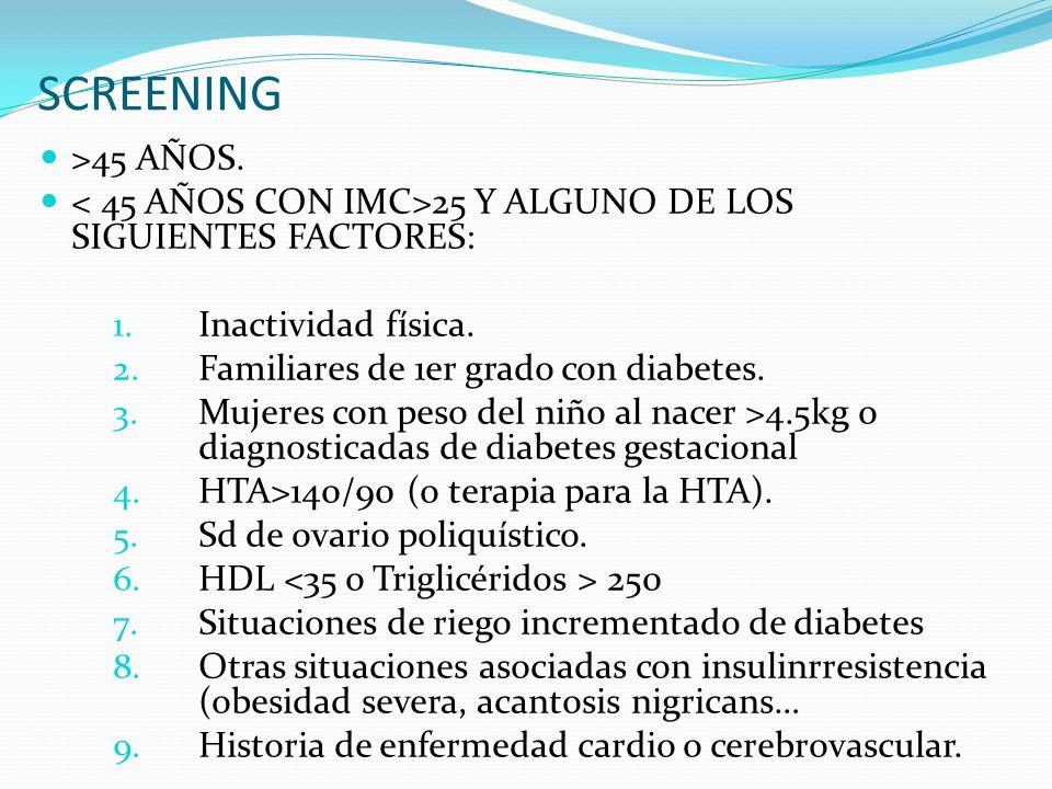 SCREENING >45 AÑOS. < 45 AÑOS CON IMC>25 Y ALGUNO DE LOS SIGUIENTES FACTORES: Inactividad física.