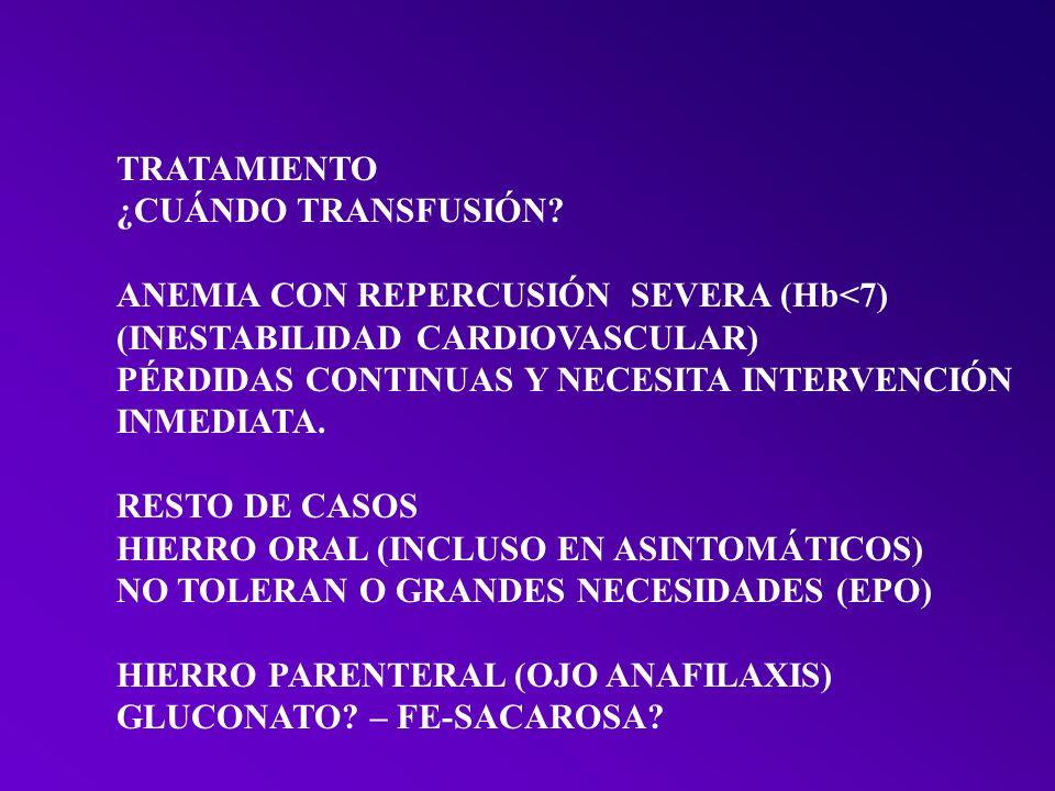 TRATAMIENTO ¿CUÁNDO TRANSFUSIÓN ANEMIA CON REPERCUSIÓN SEVERA (Hb<7) (INESTABILIDAD CARDIOVASCULAR)