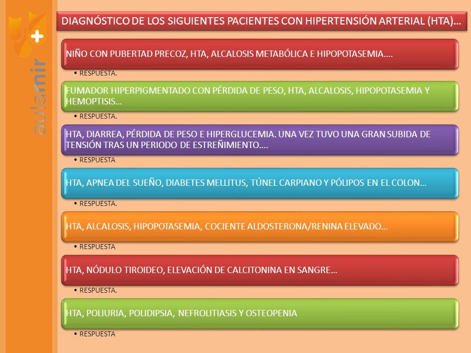 DIAGNÓSTICO DE LOS SIGUIENTES PACIENTES CON HIPERTENSIÓN ARTERIAL (HTA)…