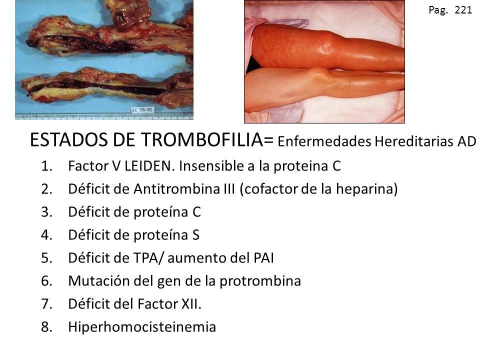 ESTADOS DE TROMBOFILIA= Enfermedades Hereditarias AD