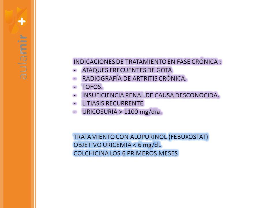 INDICACIONES DE TRATAMIENTO EN FASE CRÓNICA :