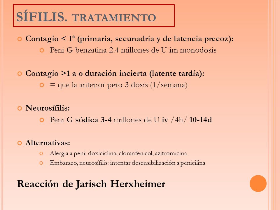 SÍFILIS. tratamiento Reacción de Jarisch Herxheimer