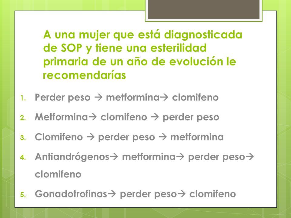 A una mujer que está diagnosticada de SOP y tiene una esterilidad primaria de un año de evolución le recomendarías