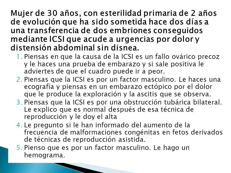 Mujer de 30 años, con esterilidad primaria de 2 años de evolución que ha sido sometida hace dos días a una transferencia de dos embriones conseguidos mediante ICSI que acude a urgencias por dolor y distensión abdominal sin disnea.