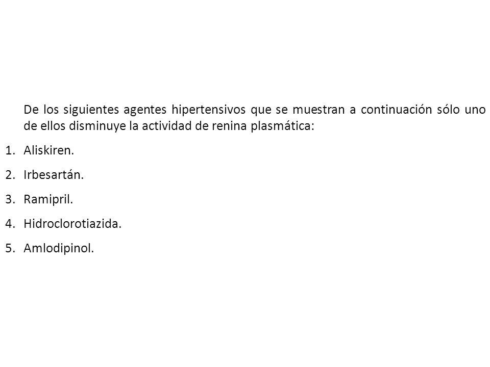 De los siguientes agentes hipertensivos que se muestran a continuación sólo uno de ellos disminuye la actividad de renina plasmática: