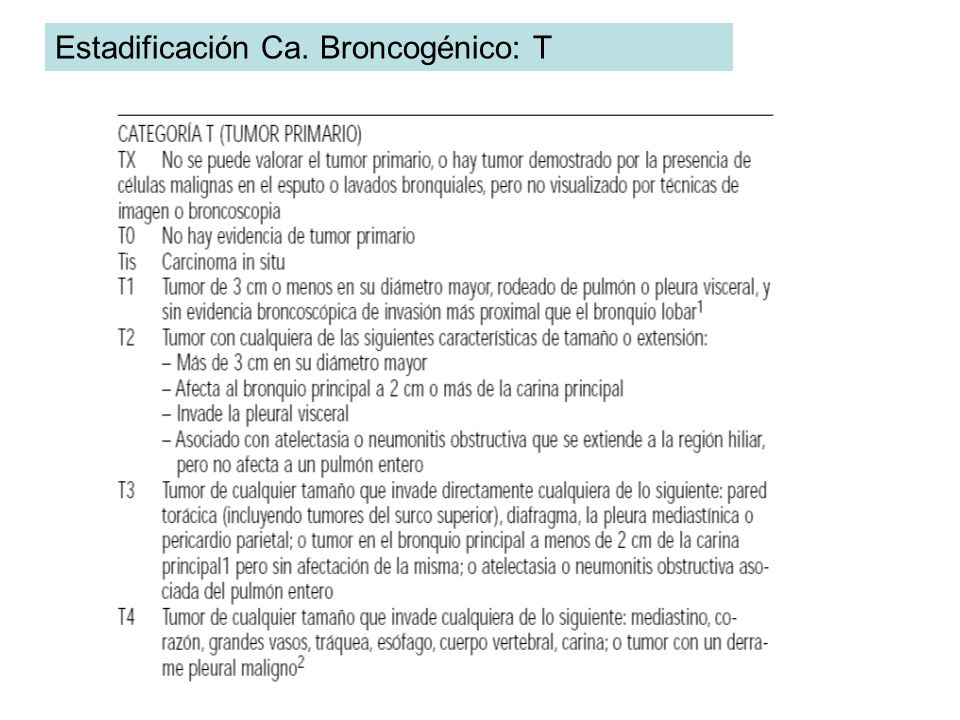 Estadificación Ca. Broncogénico: T
