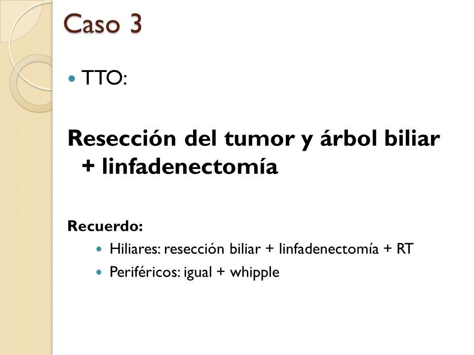 Caso 3 Resección del tumor y árbol biliar + linfadenectomía TTO: