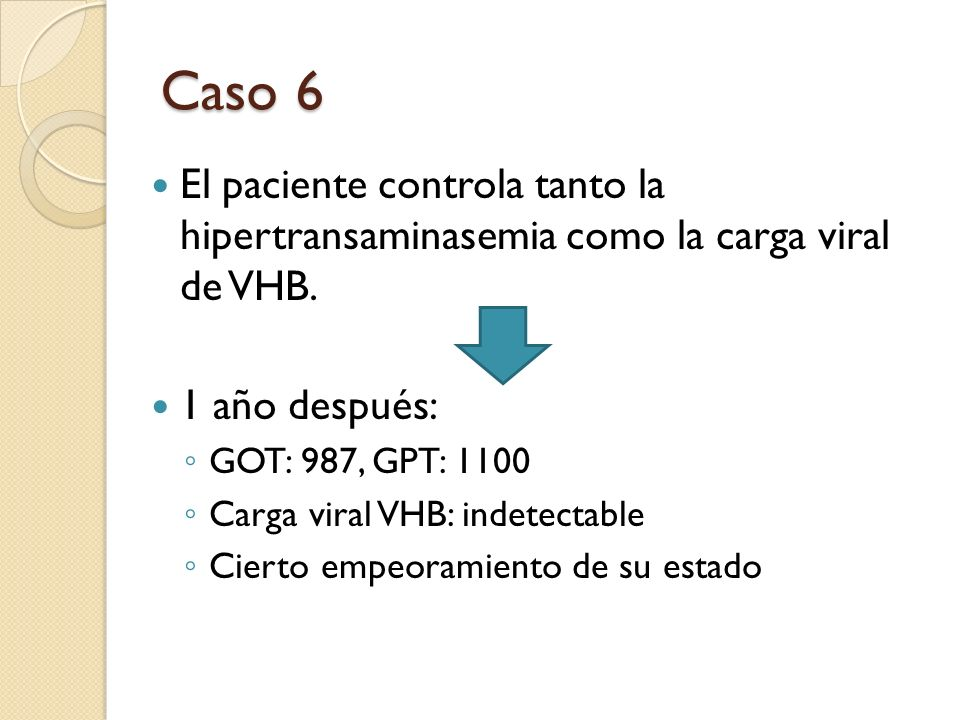 Caso 6 El paciente controla tanto la hipertransaminasemia como la carga viral de VHB. 1 año después: