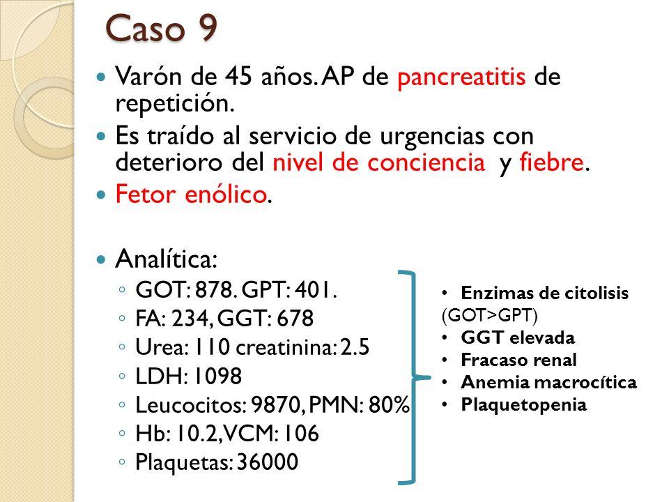 Caso 9 Varón de 45 años. AP de pancreatitis de repetición.