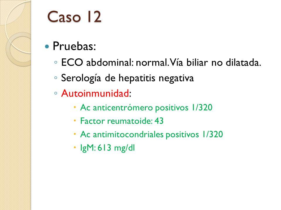 Caso 12 Pruebas: ECO abdominal: normal. Vía biliar no dilatada.