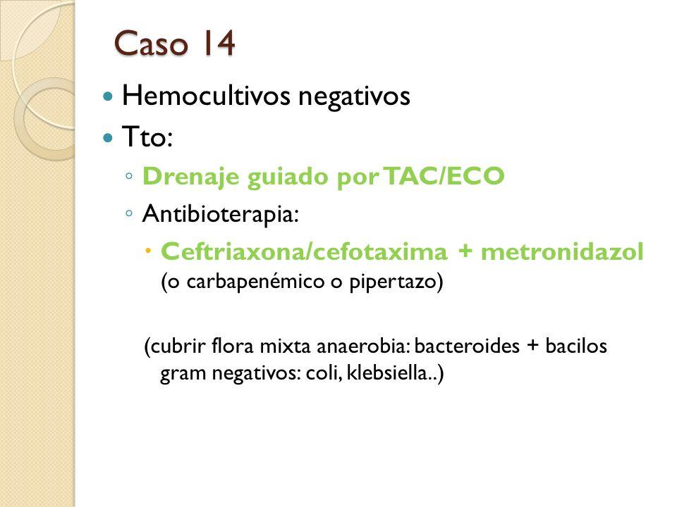 Caso 14 Hemocultivos negativos Tto: Drenaje guiado por TAC/ECO