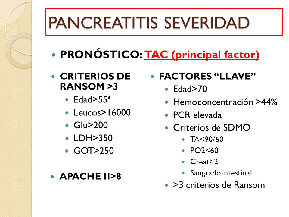 PANCREATITIS SEVERIDAD