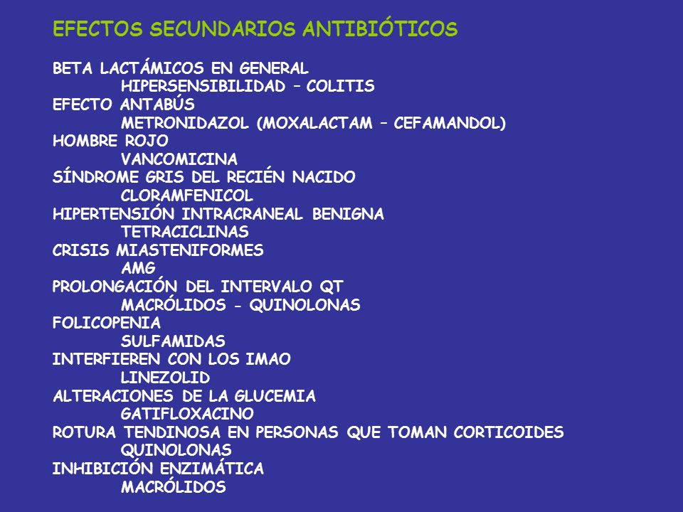 EFECTOS SECUNDARIOS ANTIBIÓTICOS