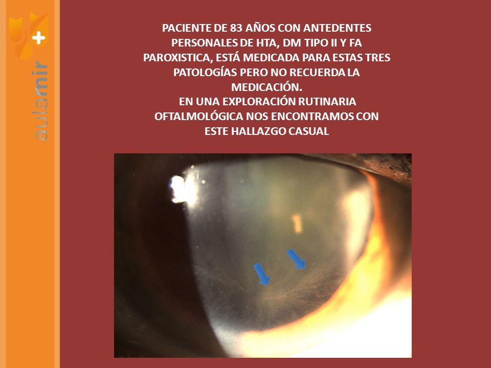 PACIENTE DE 83 AÑOS CON ANTEDENTES PERSONALES DE HTA, DM TIPO II Y FA PAROXISTICA, ESTÁ MEDICADA PARA ESTAS TRES PATOLOGÍAS PERO NO RECUERDA LA MEDICACIÓN.