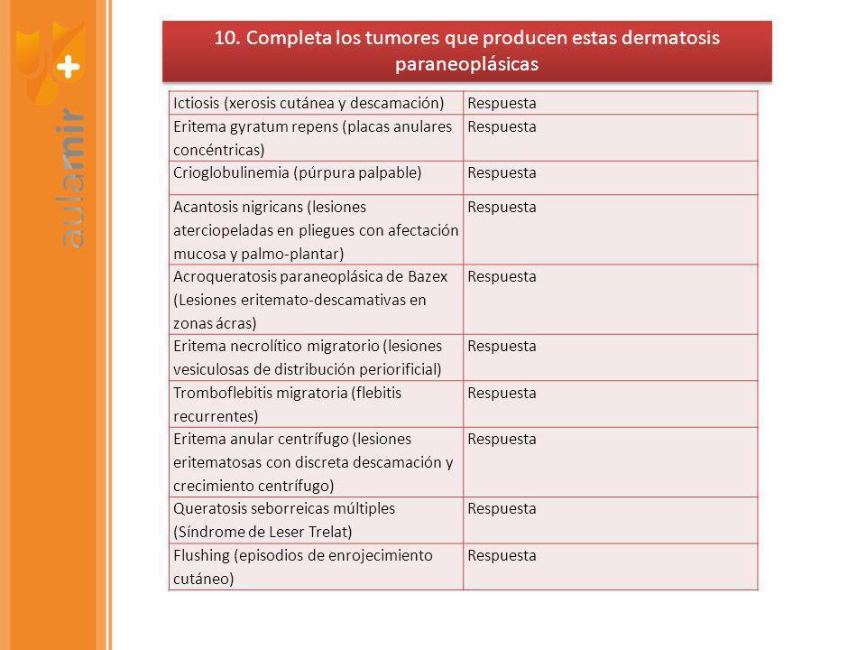 10. Completa los tumores que producen estas dermatosis paraneoplásicas