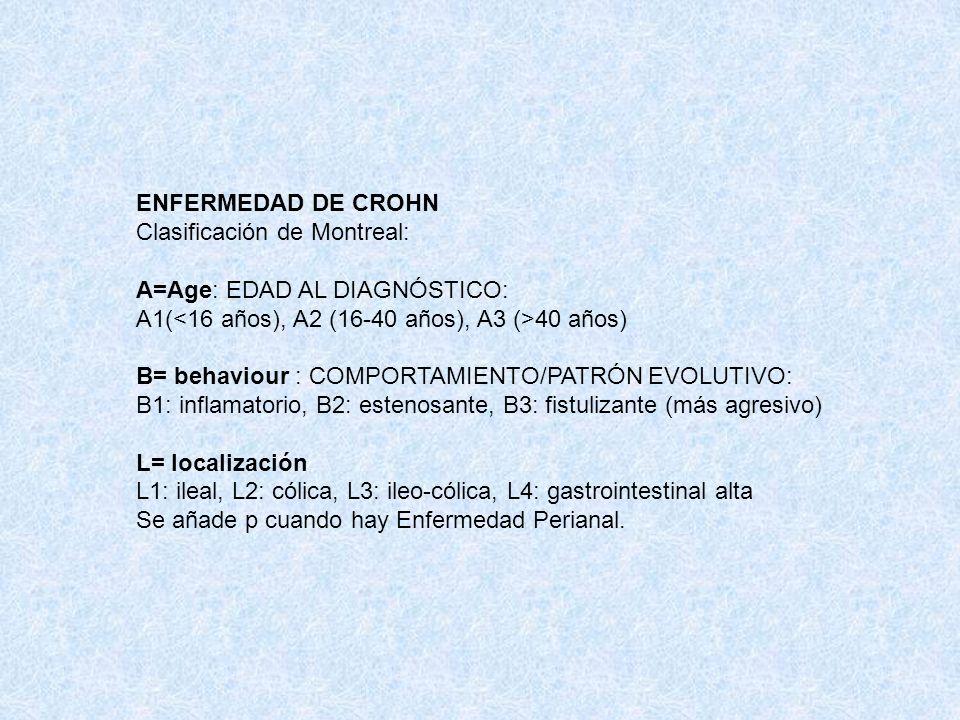 ENFERMEDAD DE CROHN Clasificación de Montreal: A=Age: EDAD AL DIAGNÓSTICO: A1(<16 años), A2 (16-40 años), A3 (>40 años)