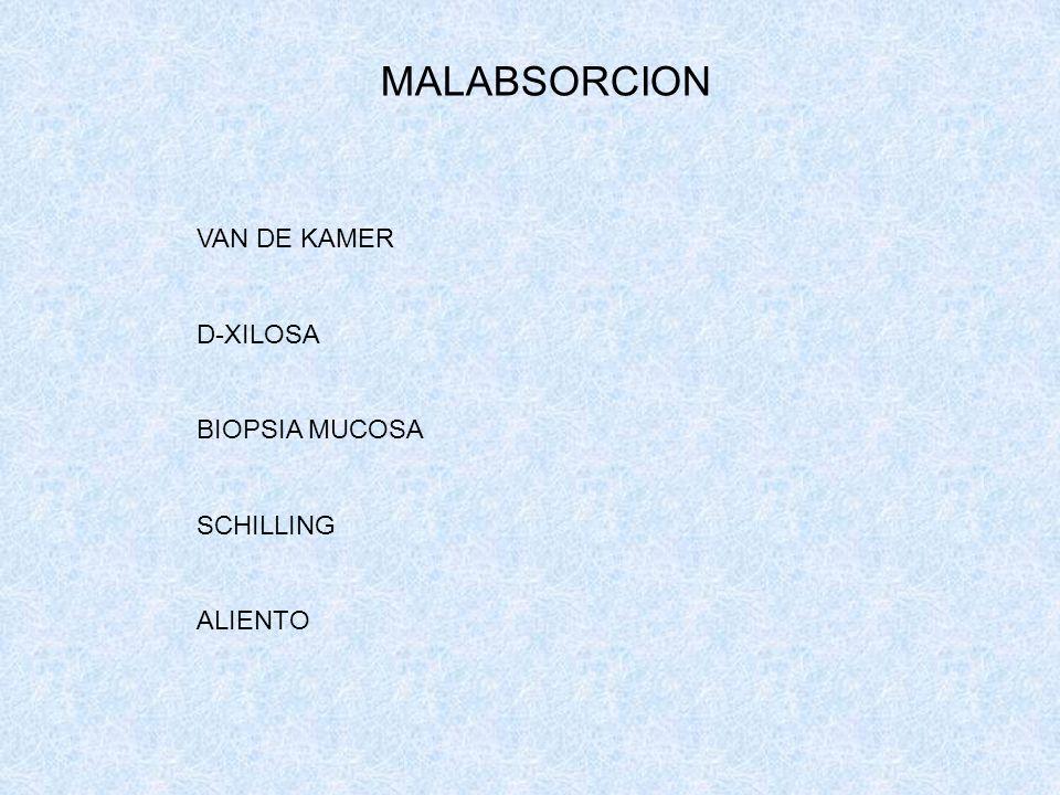 MALABSORCION VAN DE KAMER D-XILOSA BIOPSIA MUCOSA SCHILLING ALIENTO