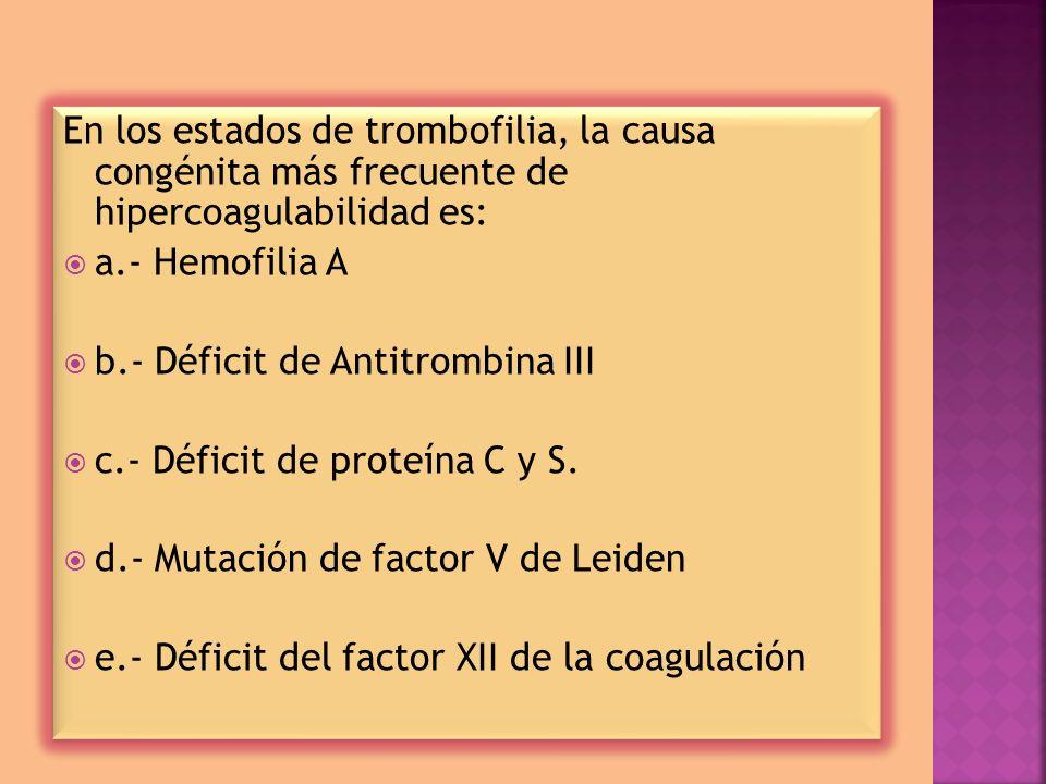 En los estados de trombofilia, la causa congénita más frecuente de hipercoagulabilidad es: