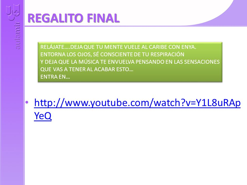 REGALITO FINAL http://www.youtube.com/watch v=Y1L8uRApYeQ