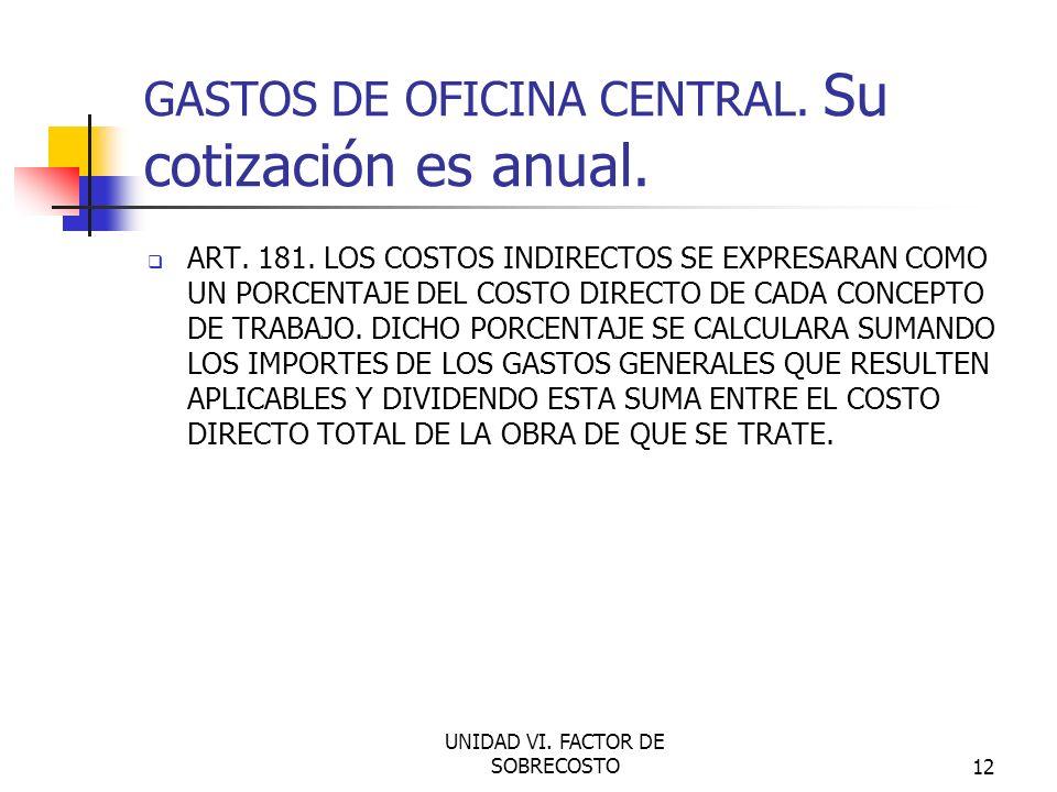 GASTOS DE OFICINA CENTRAL. Su cotización es anual.