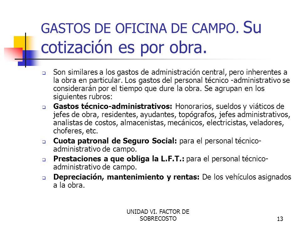 GASTOS DE OFICINA DE CAMPO. Su cotización es por obra.