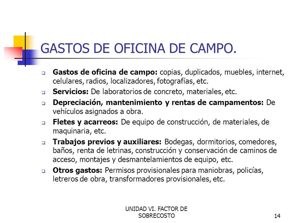 GASTOS DE OFICINA DE CAMPO.