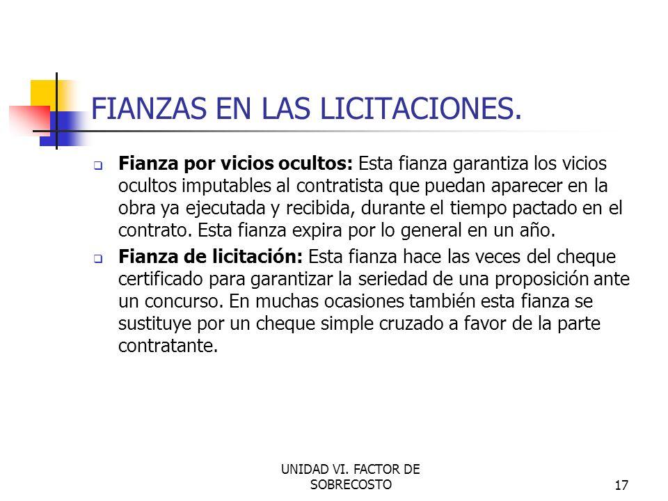 FIANZAS EN LAS LICITACIONES.