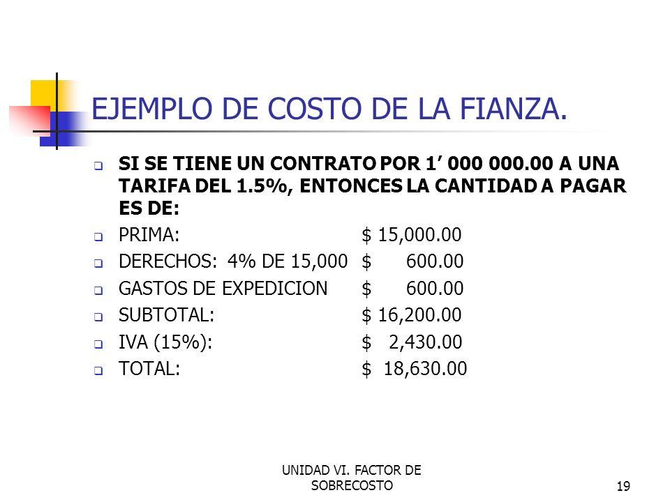 EJEMPLO DE COSTO DE LA FIANZA.