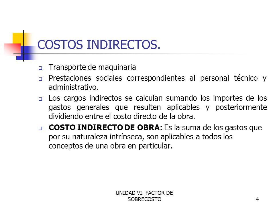 UNIDAD VI. FACTOR DE SOBRECOSTO