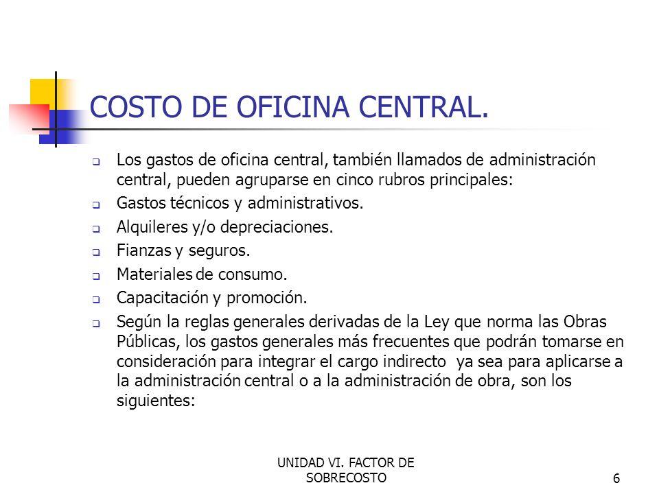 COSTO DE OFICINA CENTRAL.