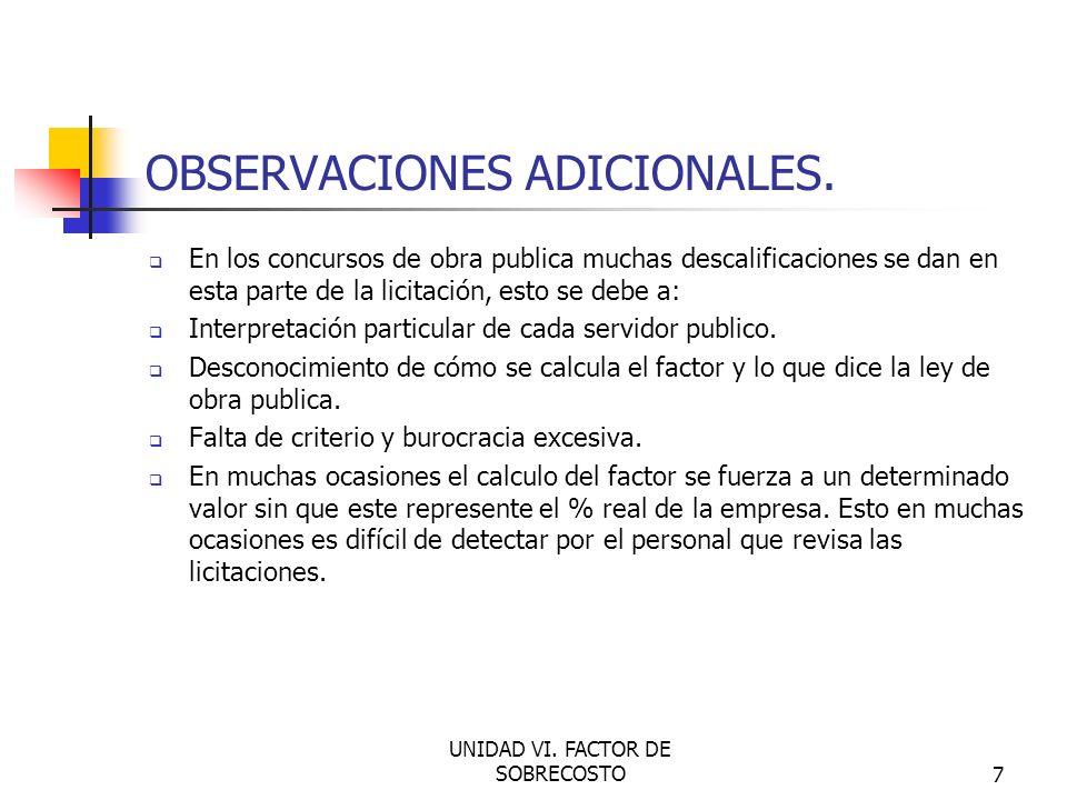 OBSERVACIONES ADICIONALES.