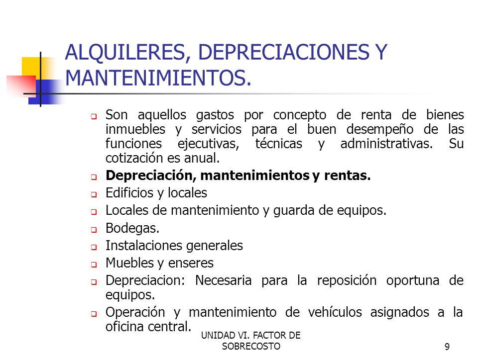 ALQUILERES, DEPRECIACIONES Y MANTENIMIENTOS.
