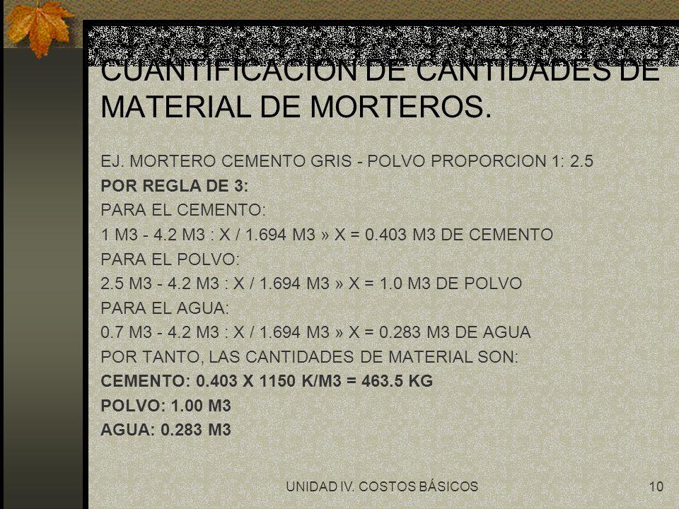 CUANTIFICACION DE CANTIDADES DE MATERIAL DE MORTEROS.