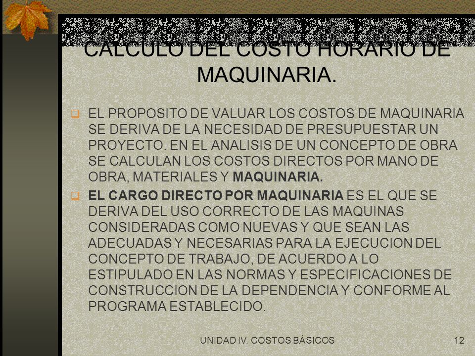 CALCULO DEL COSTO HORARIO DE MAQUINARIA.