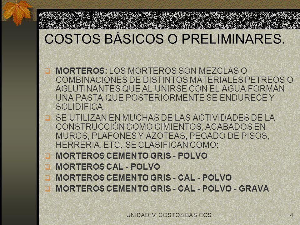 COSTOS BÁSICOS O PRELIMINARES.