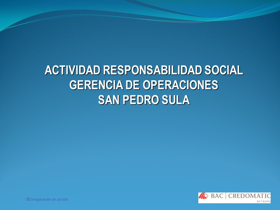 ACTIVIDAD RESPONSABILIDAD SOCIAL GERENCIA DE OPERACIONES