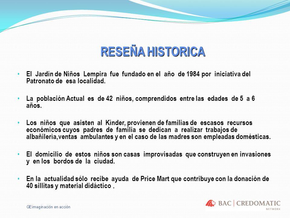 RESEÑA HISTORICAEl Jardín de Niños Lempira fue fundado en el año de 1984 por iniciativa del Patronato de esa localidad.