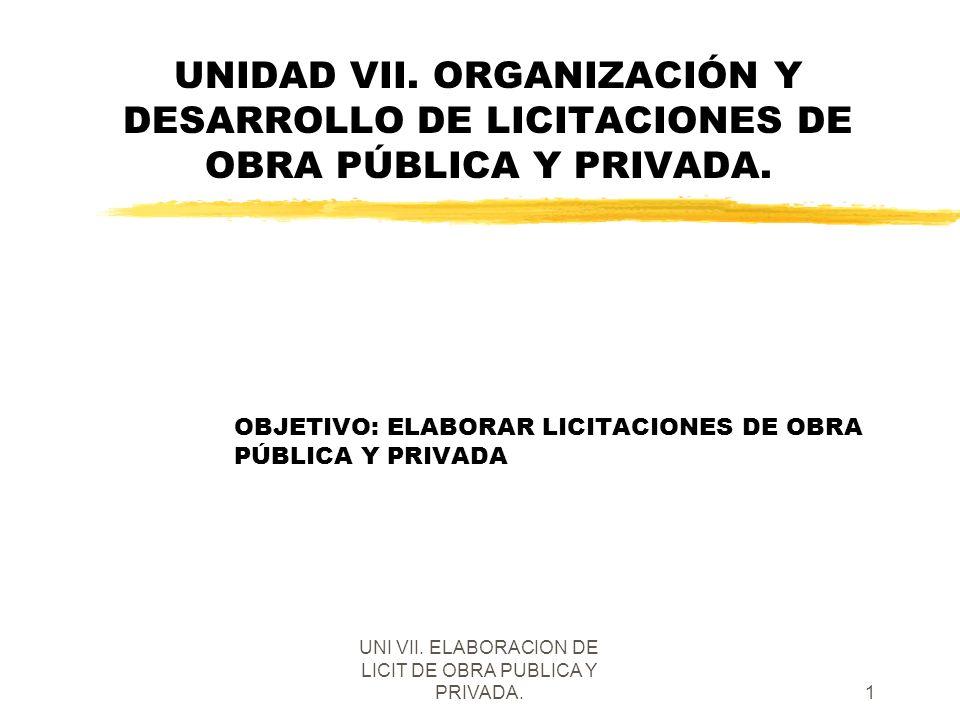 OBJETIVO: ELABORAR LICITACIONES DE OBRA PÚBLICA Y PRIVADA