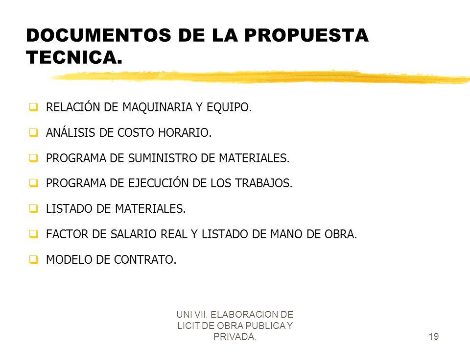 DOCUMENTOS DE LA PROPUESTA TECNICA.