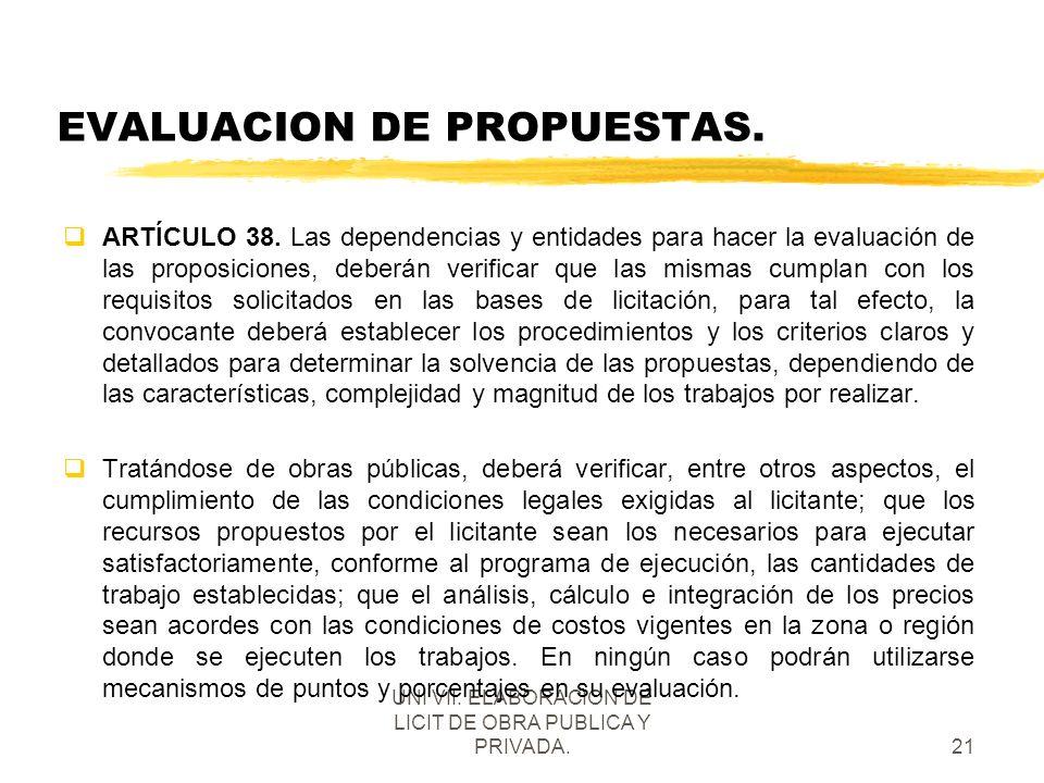 EVALUACION DE PROPUESTAS.