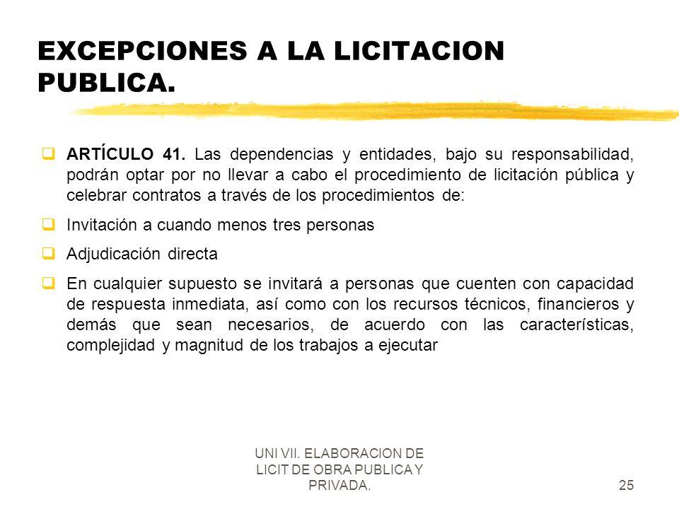EXCEPCIONES A LA LICITACION PUBLICA.
