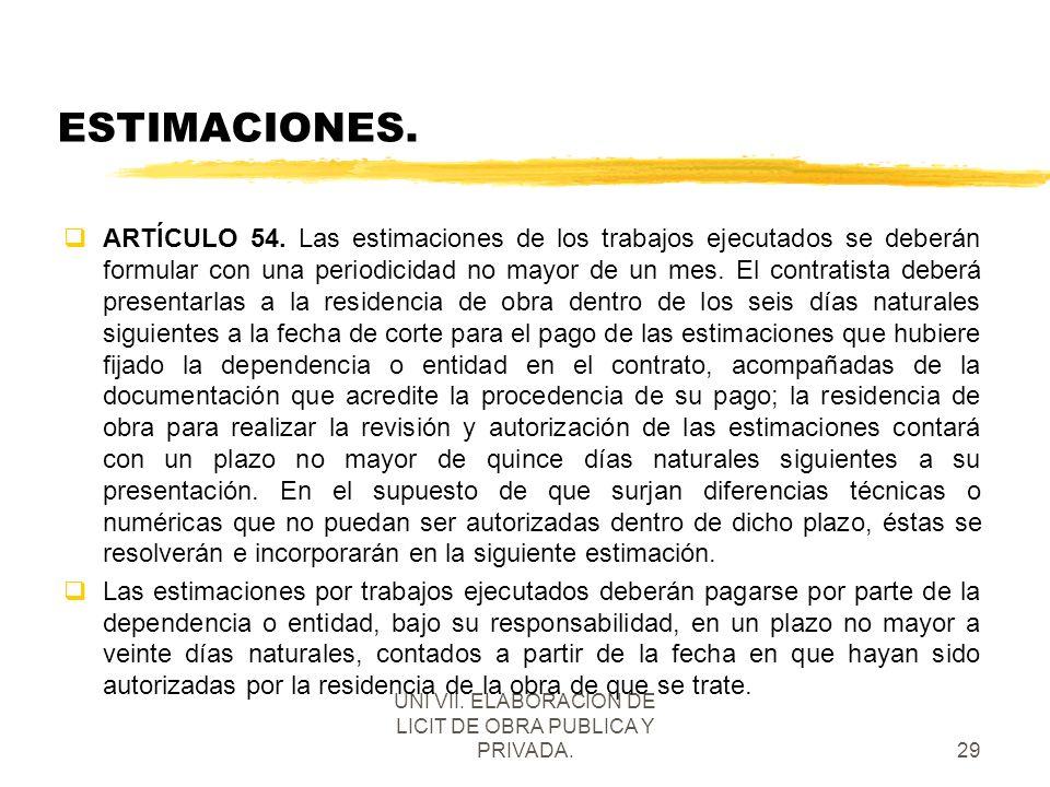 UNI VII. ELABORACION DE LICIT DE OBRA PUBLICA Y PRIVADA.
