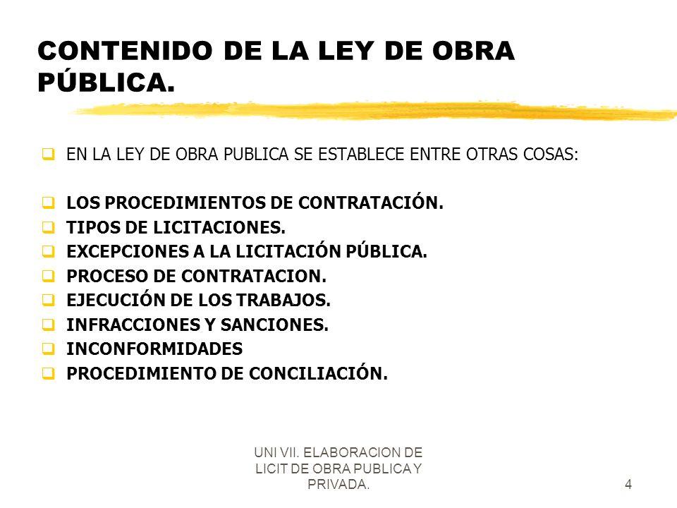 CONTENIDO DE LA LEY DE OBRA PÚBLICA.