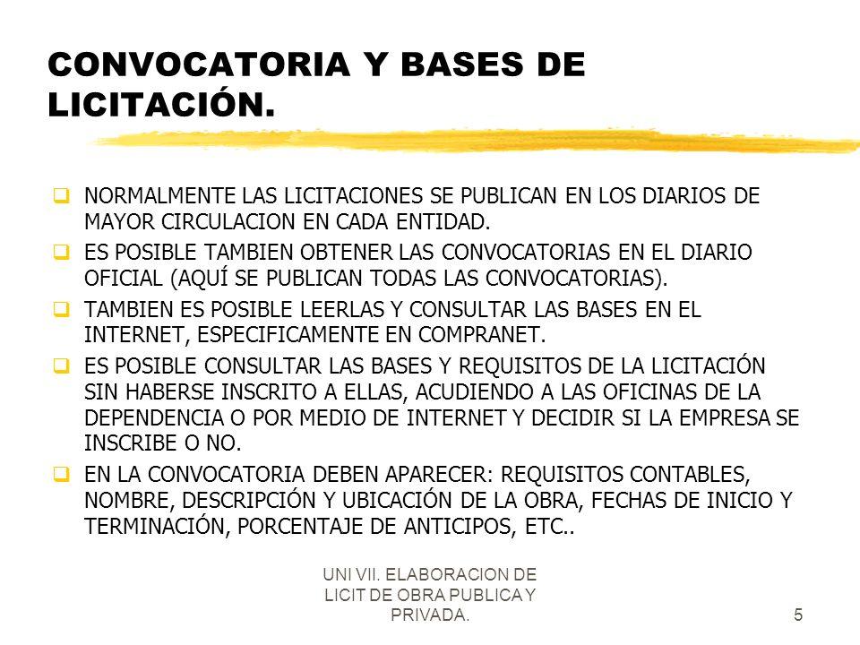 CONVOCATORIA Y BASES DE LICITACIÓN.