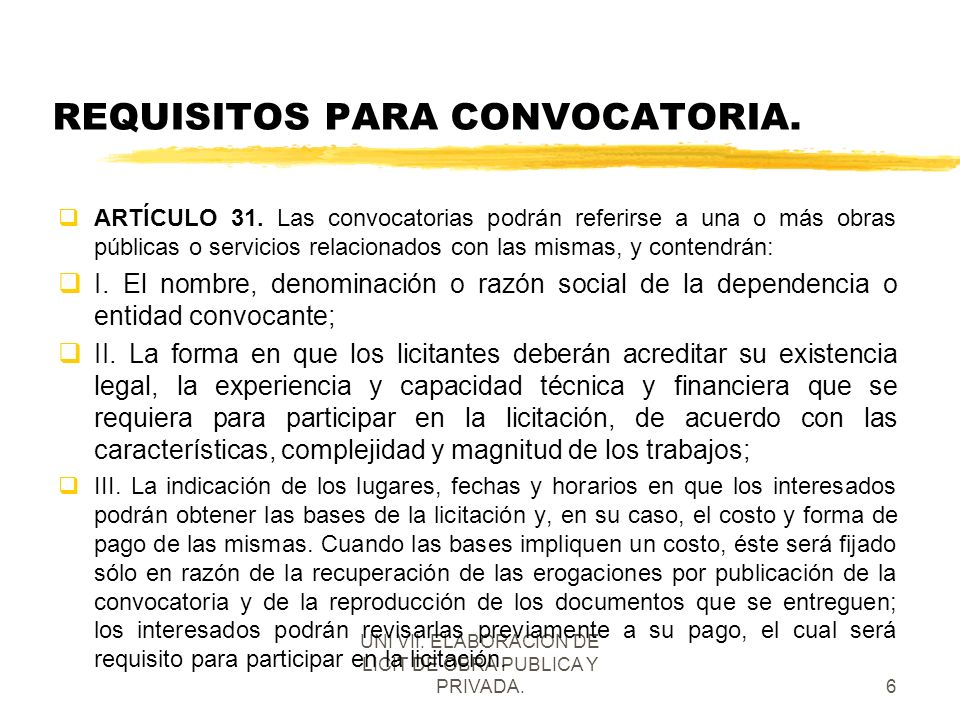 REQUISITOS PARA CONVOCATORIA.