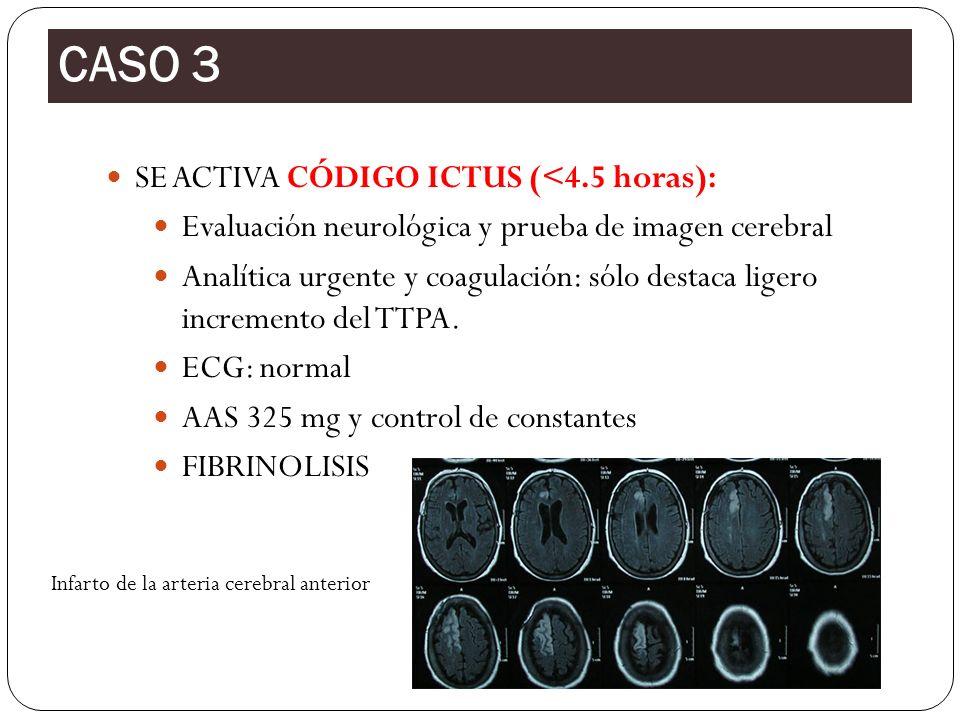 CASO 3 SE ACTIVA CÓDIGO ICTUS (<4.5 horas):