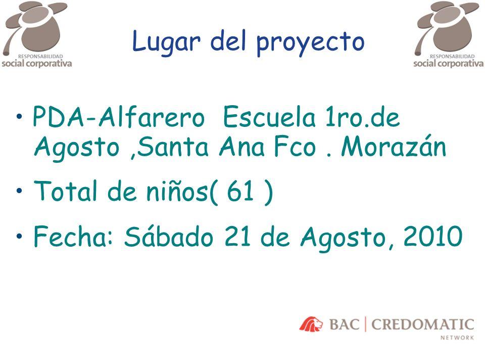 Lugar del proyecto PDA-Alfarero Escuela 1ro.de Agosto ,Santa Ana Fco . Morazán. Total de niños( 61 )