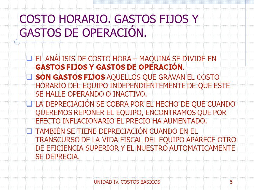 COSTO HORARIO. GASTOS FIJOS Y GASTOS DE OPERACIÓN.