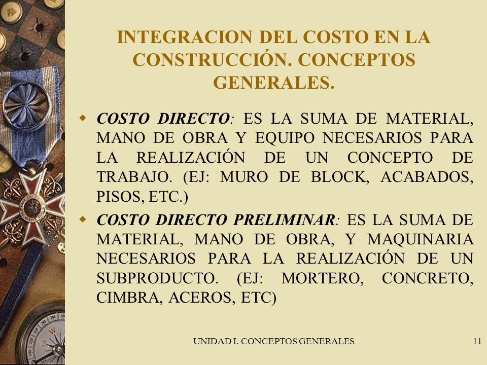 INTEGRACION DEL COSTO EN LA CONSTRUCCIÓN. CONCEPTOS GENERALES.