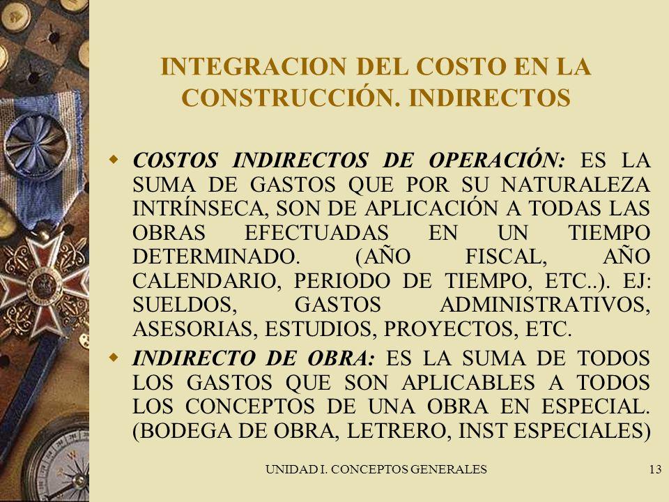 INTEGRACION DEL COSTO EN LA CONSTRUCCIÓN. INDIRECTOS